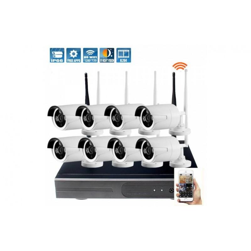 Kit 8 Caméras Extérieures IP WiFi (sans  fil) + Enregistreur