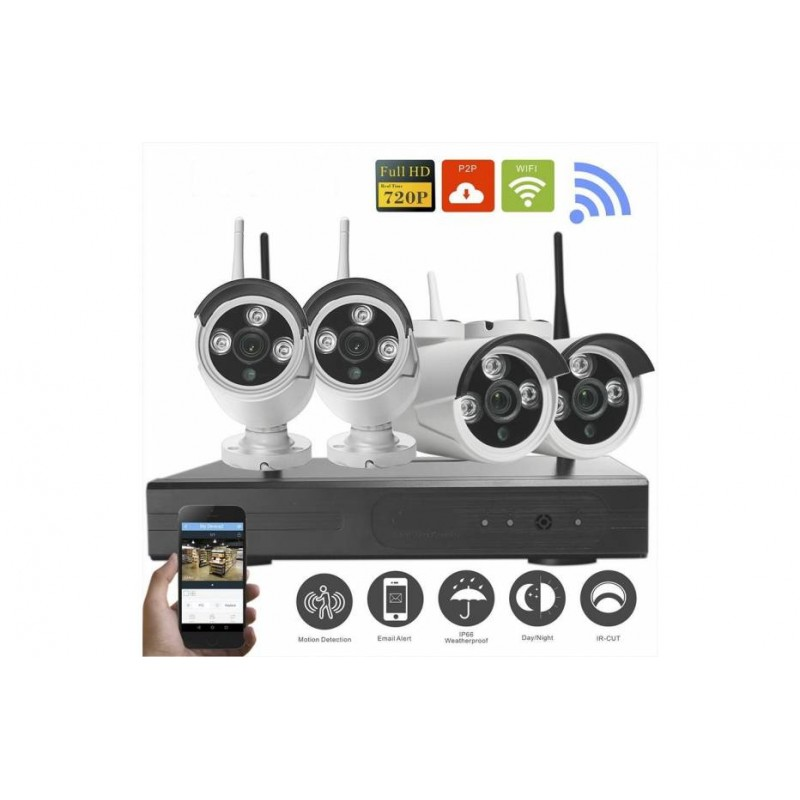 kit 4 cam ras vid osurveillance wifi sans fil enregistreur. Black Bedroom Furniture Sets. Home Design Ideas