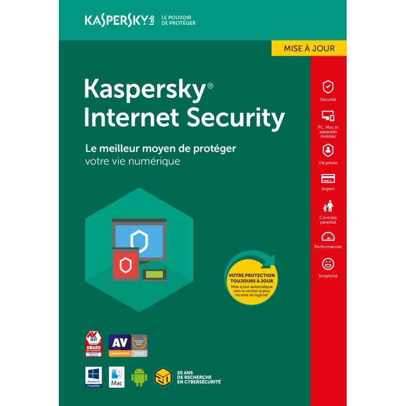 Kaspersky Internet Security 2018 - 3 Postes + 1 Licence