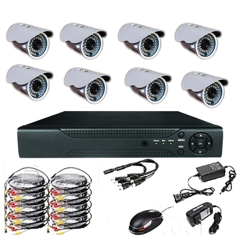 kit 8 cameras de surveillance enregistreur dvr. Black Bedroom Furniture Sets. Home Design Ideas