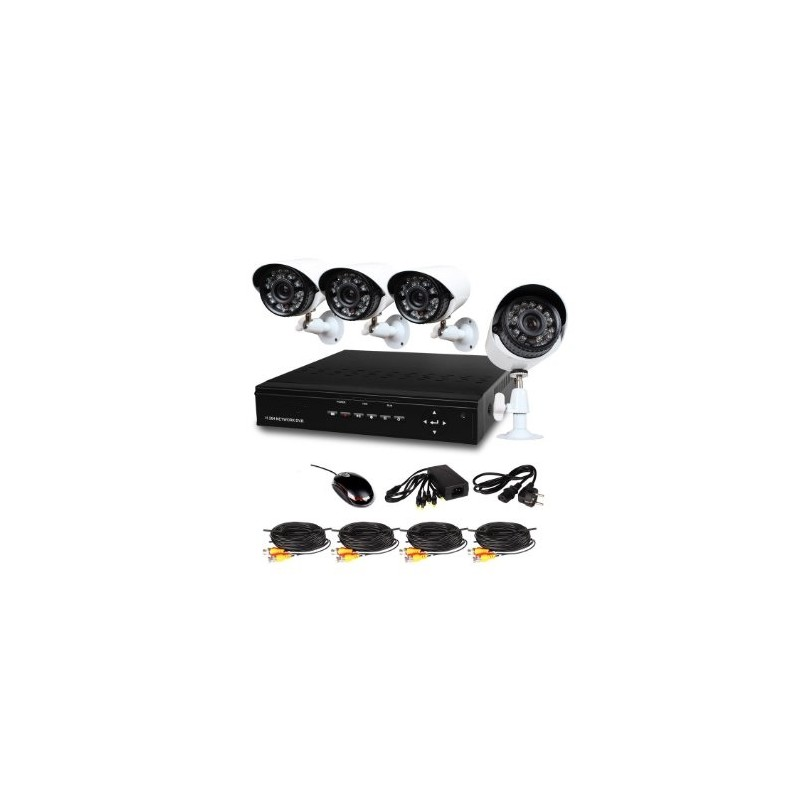 kit 4 cameras de surveillance enregistreur dvr visualisation mobile detection de mouvement alarme. Black Bedroom Furniture Sets. Home Design Ideas